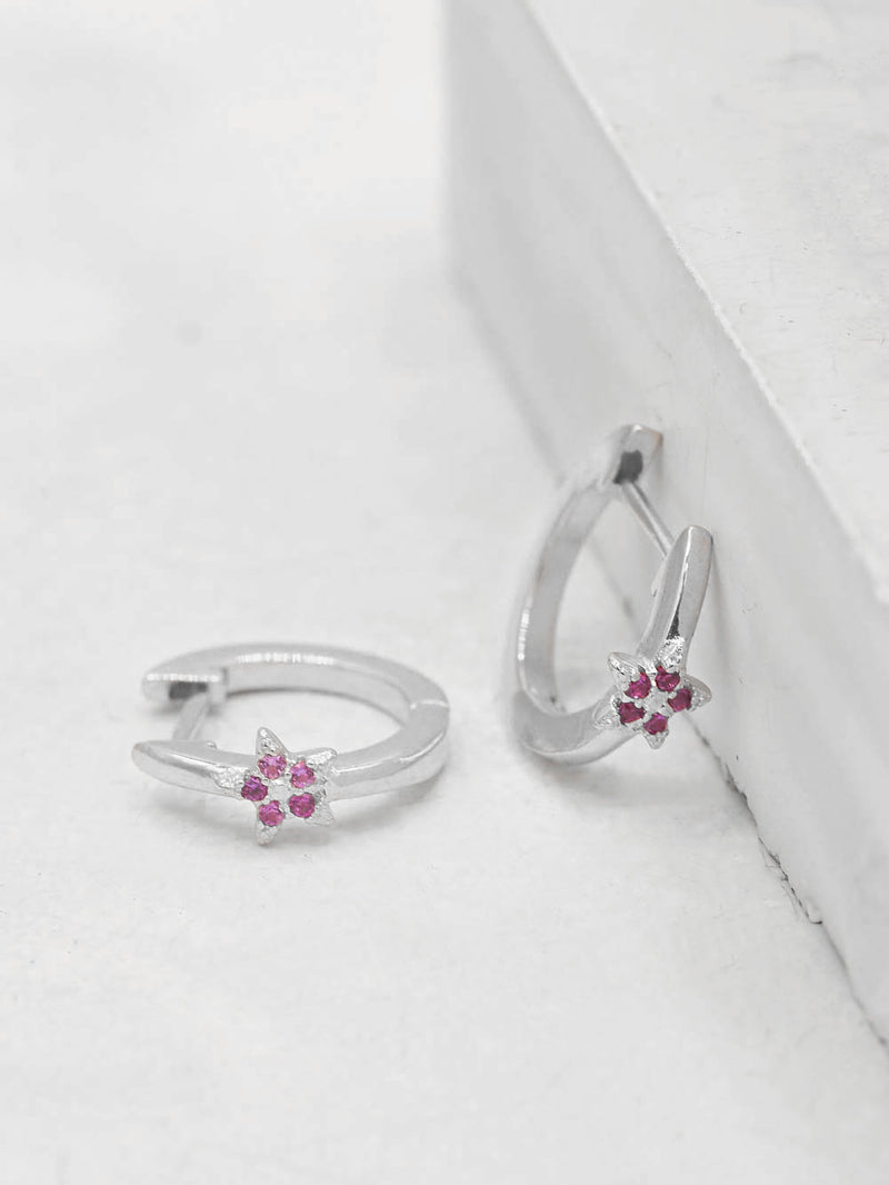 Silver Mini Star with Pink Ruby CZ Cubic Zirconia Hoop Huggies Dainty Earring by The Faint Hearted Jewelry