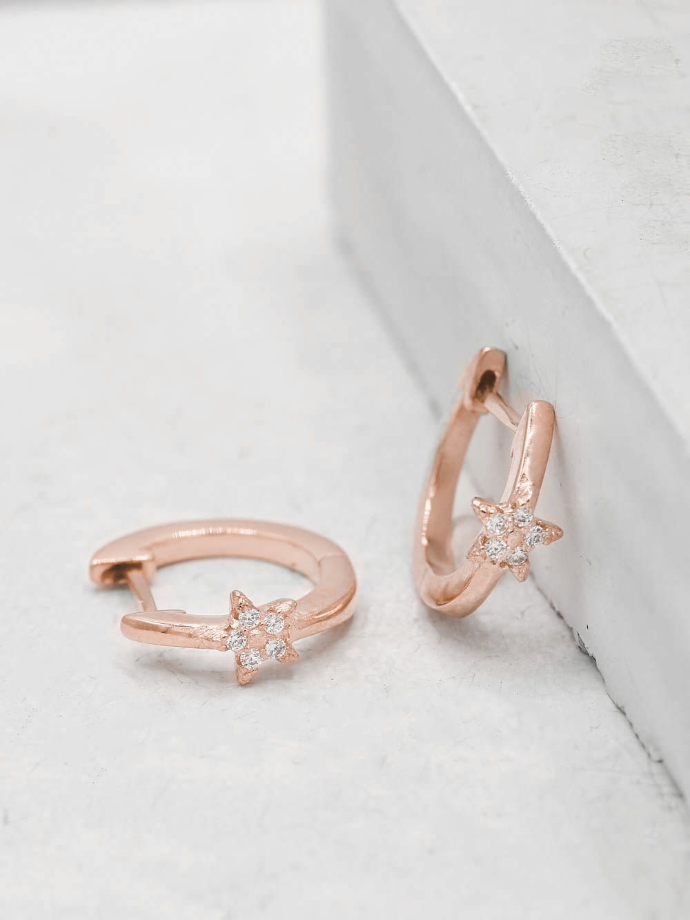 Rose Gold Plated Brass Mini Star with White  CZ Cubic Zirconia Hoop Huggies Dainty Earring by The Faint Hearted Jewelry