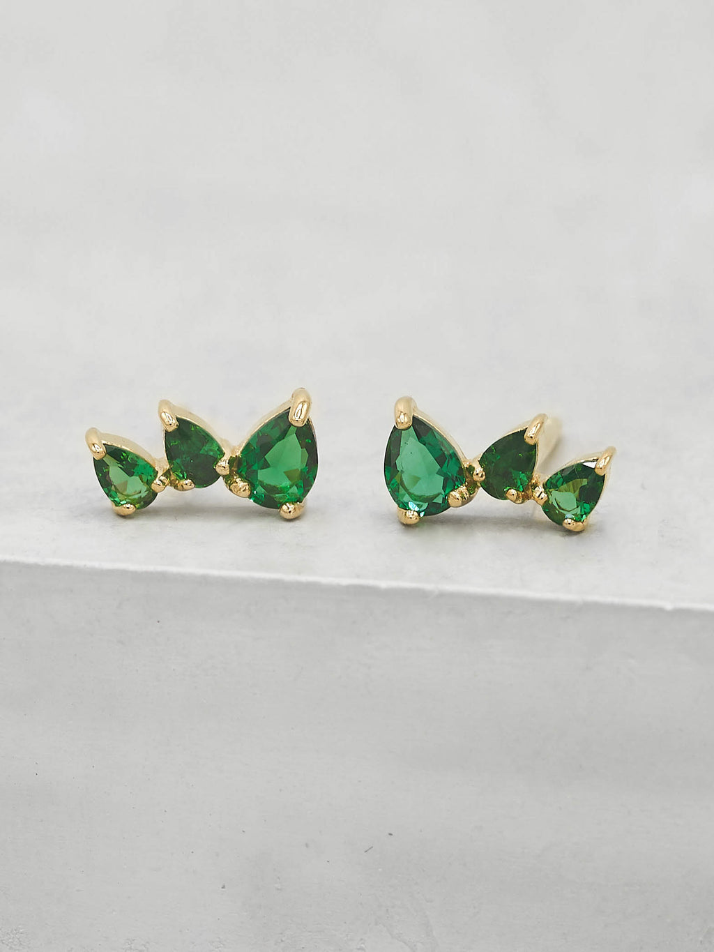 Gold Plated 3 Stones Green emerald  Pear Shape Cubic Zirconia CZ  Stud Earrings by The Faint Hearted jewelry