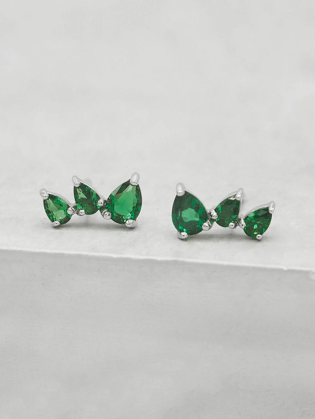 Rhodium Plated  3 Stones Green Pear Shape Cubic Zirconia CZ Stud Ear crawlers style Earrings by The Faint Hearted jewelry