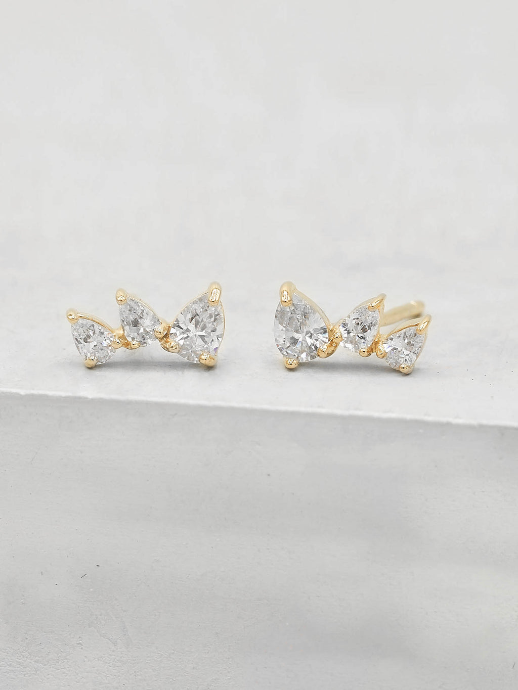 3 Stones Pear Shape Cubic Zirconia CZ White color Stud Earrings by The Faint Hearted jewelry