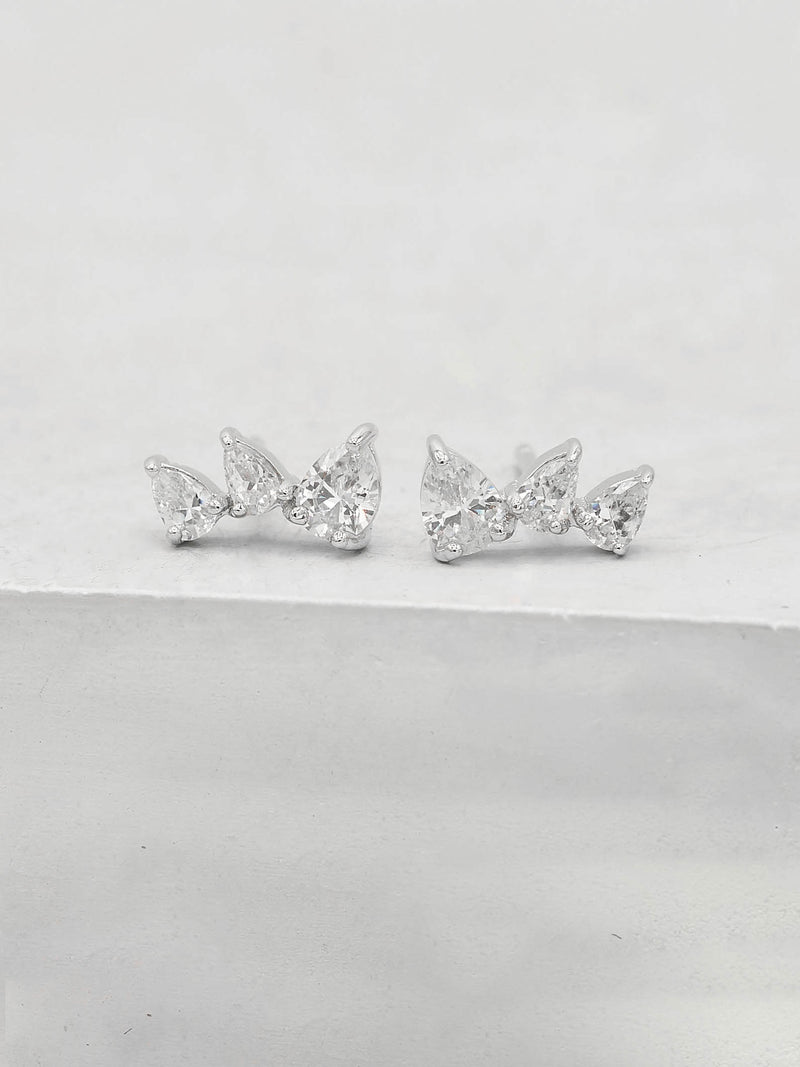 Rhodium Plated  3 Stones White Pear Shape Cubic Zirconia CZ Stud Earrings by The Faint Hearted jewelry