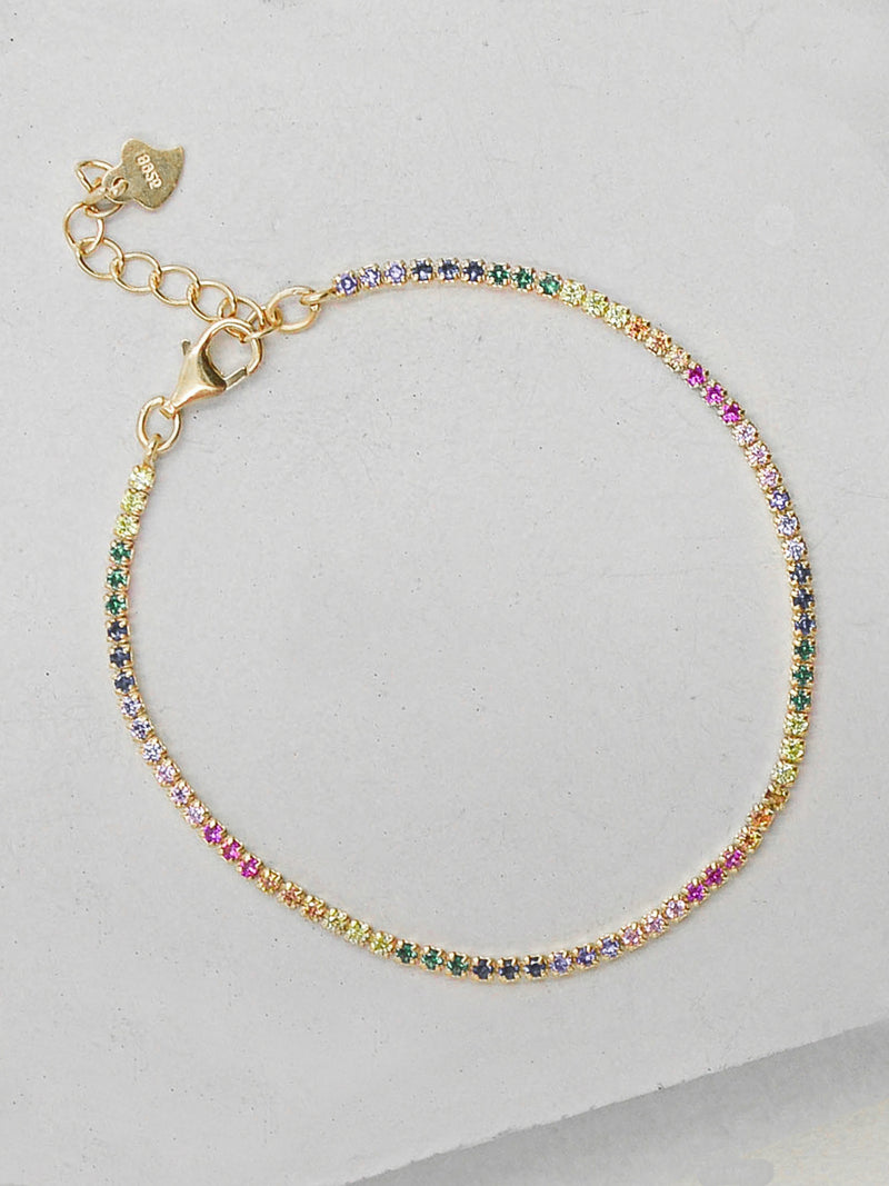 Tennis Bracelet - Gold + Rainbow