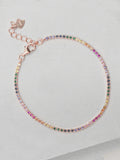 Tennis Bracelet - Rose Gold + Rainbow