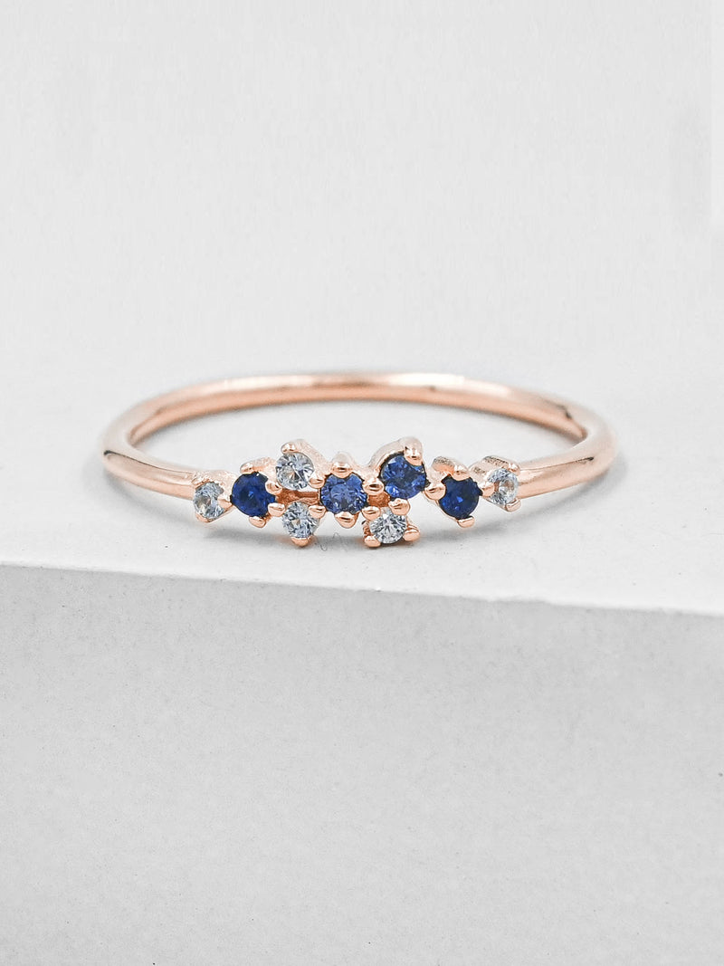 Twilight Ring - Rose Gold + Blue
