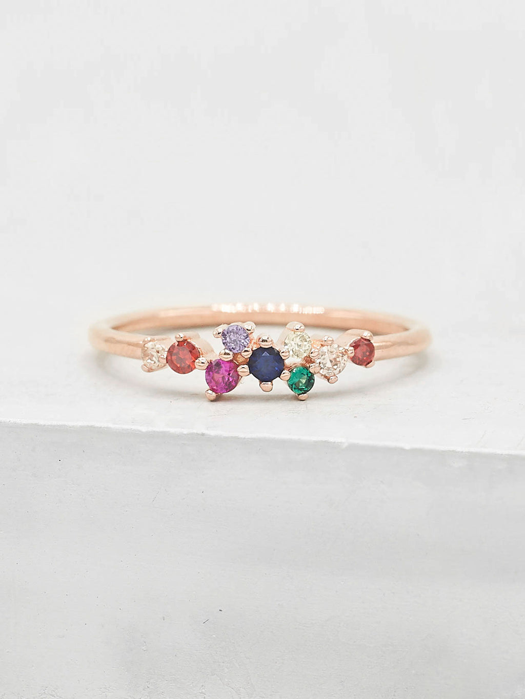 Twilight Ring - Rose Gold + Rainbow
