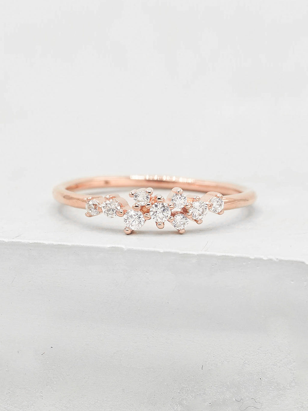 Rose Gold Twilight Cluster Dainty Ring by The Faint Hearted Jewelry