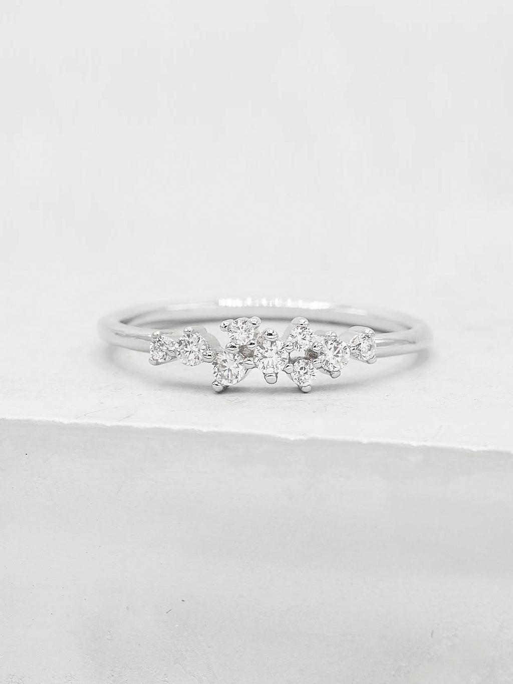 Silver CZ Twilight Cluster Dainty Ring by The Faint Hearted Jewelry