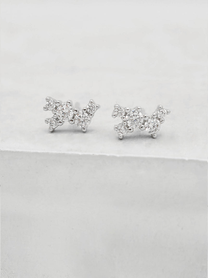 Rhodium  Plated Brass White CZ Cubic Zirconia Twilight Style Stud dainty Earrings by The Faint Hearted jewelry