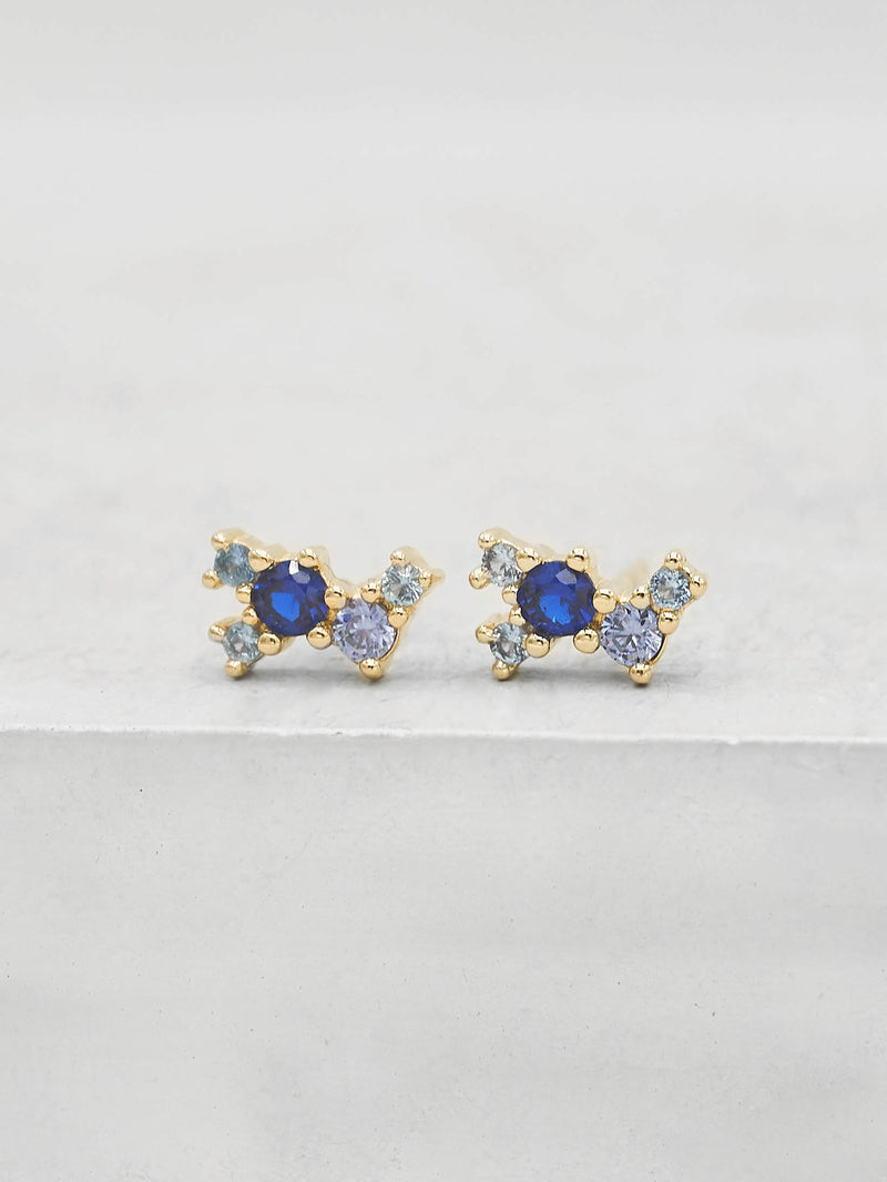 Gold Plated Brass Twilight Style Blue Cubic Zirconia Stud Dainty earrings by The Faint Hearted Jewelry