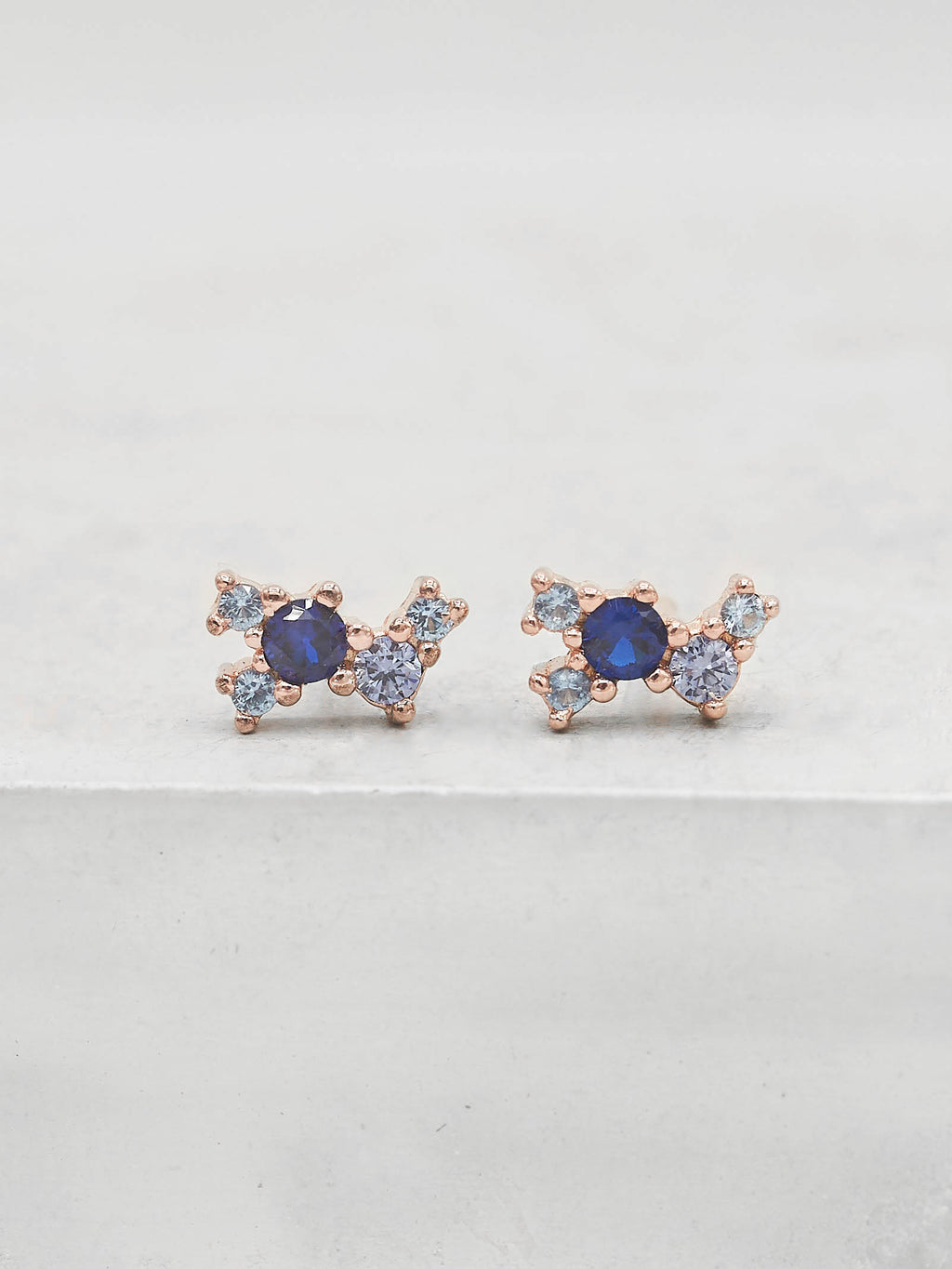 Twilight Studs - Rose Gold + Blue
