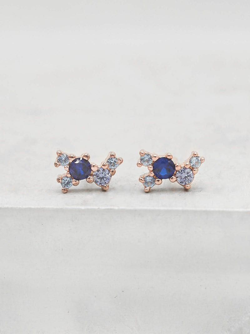 Rose Gold Plated Blue Sapphire CZ Cubic Zirconia Twilight Style Stud dainty Stud Earrings by The Faint Hearted jewelry