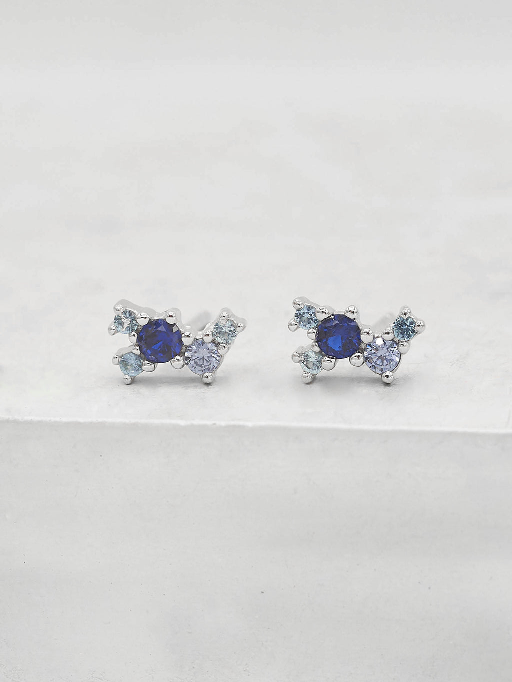 Rhodium  Plated Brass Blue Sapphire CZ Cubic Zirconia Twilight Style Stud dainty Earrings by The Faint Hearted jewelry