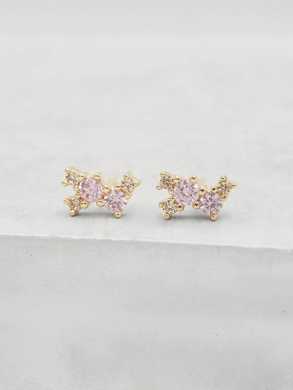 Gold Plated Pink and Champagne CZ Cubic Zirconia Twilight Style Stud dainty Stud Earrings by The Faint Hearted jewelry