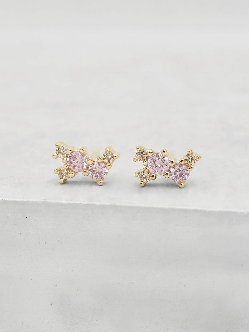 Twilight Studs -  Gold + Pink