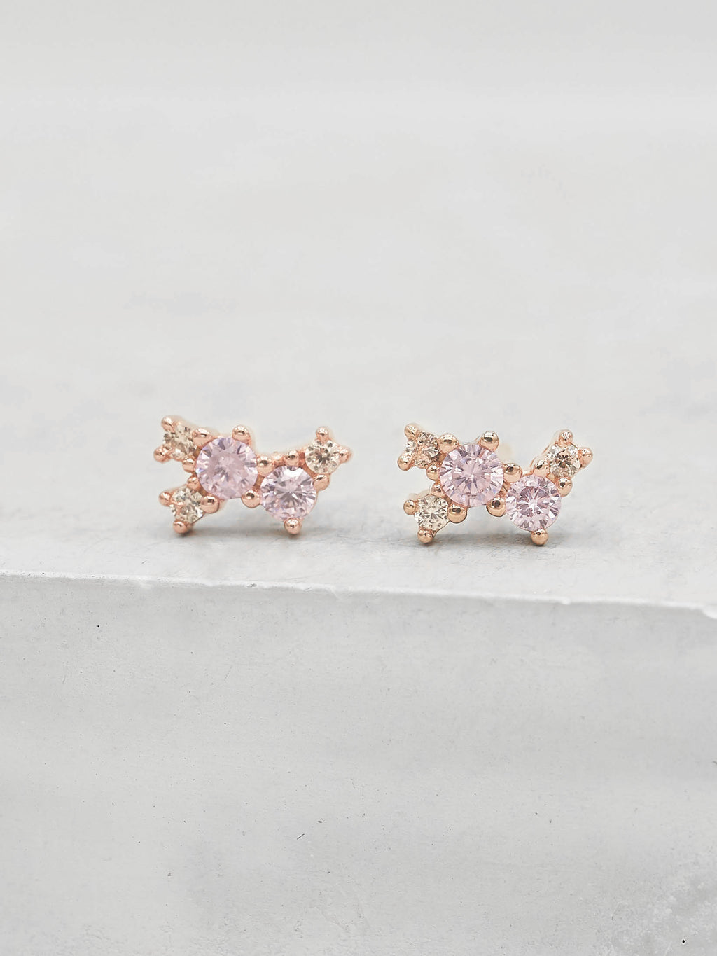 Rose Gold Plated Brass Pink and Champagne CZ Cubic Zirconia Twilight Style Stud dainty Stud Earrings by The Faint Hearted jewelry