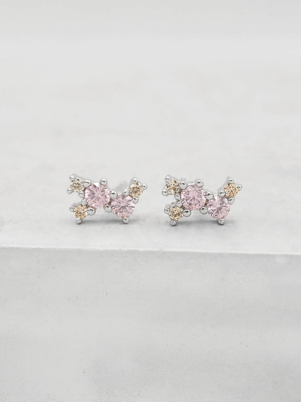 Rhodium Plated Brass Pink and Champagne CZ Cubic Zirconia Twilight Style Stud dainty Earrings by The Faint Hearted jewelry