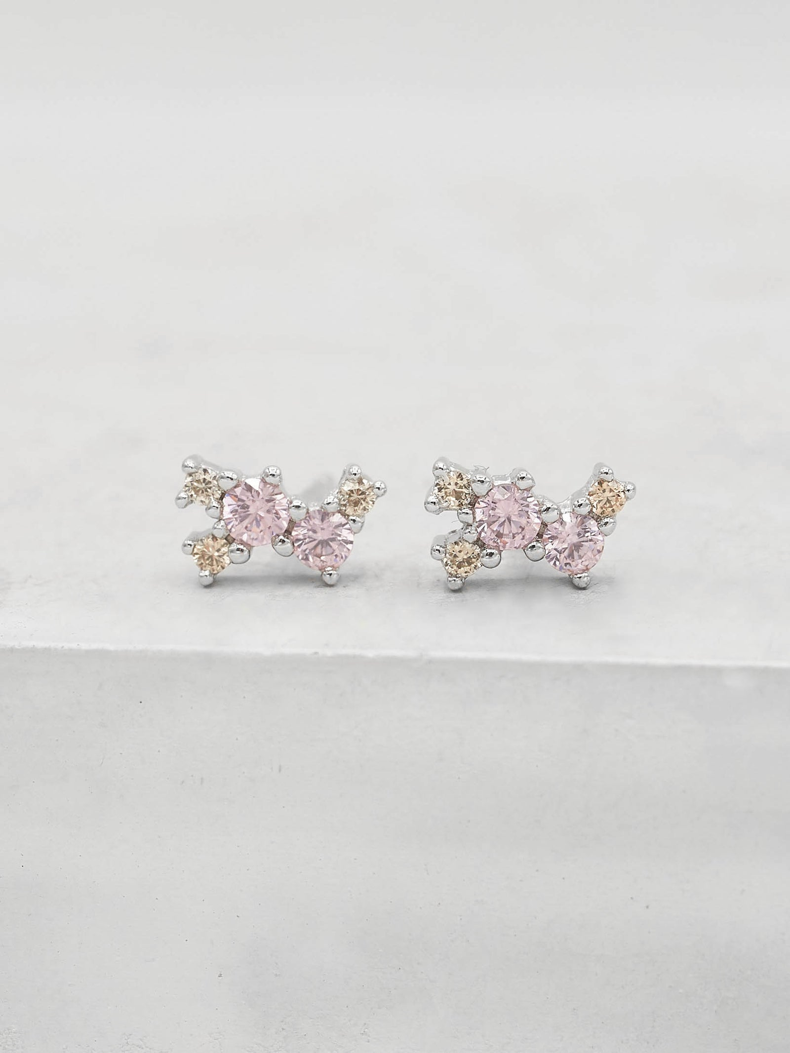 Twilight Studs - Silver + Pink