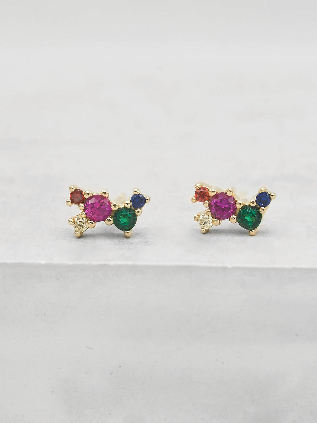 Gold Plated Rainbow  CZ Cubic Zirconia Twilight Style Stud dainty Stud Earrings by The Faint Hearted jewelry
