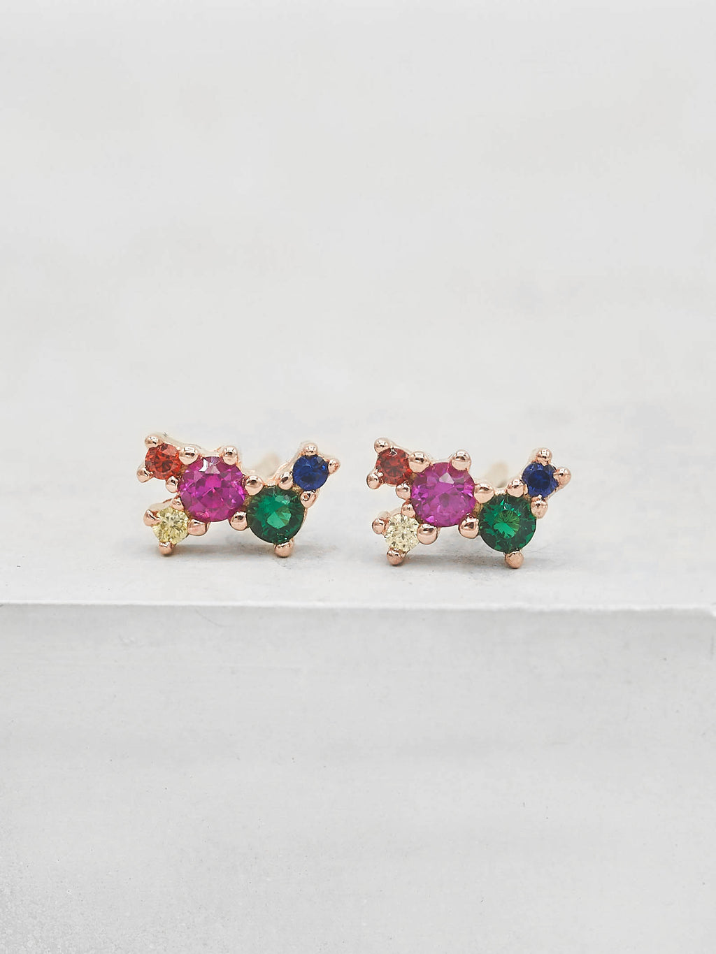 Twilight Studs - Rose Gold + Rainbow