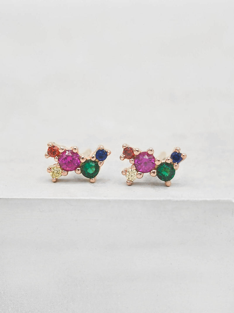 Rose Gold Plated Brass Rainbow  CZ Cubic Zirconia Twilight Style Stud dainty Earrings by The Faint Hearted jewelry