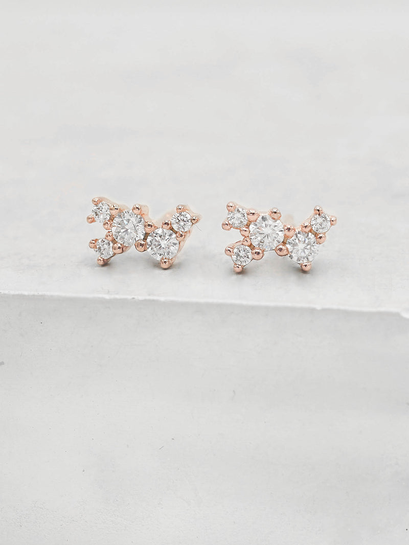 Rose Gold Plated White CZ Cubic Zirconia Twilight Style Stud dainty Stud Earrings by The Faint Hearted jewelry
