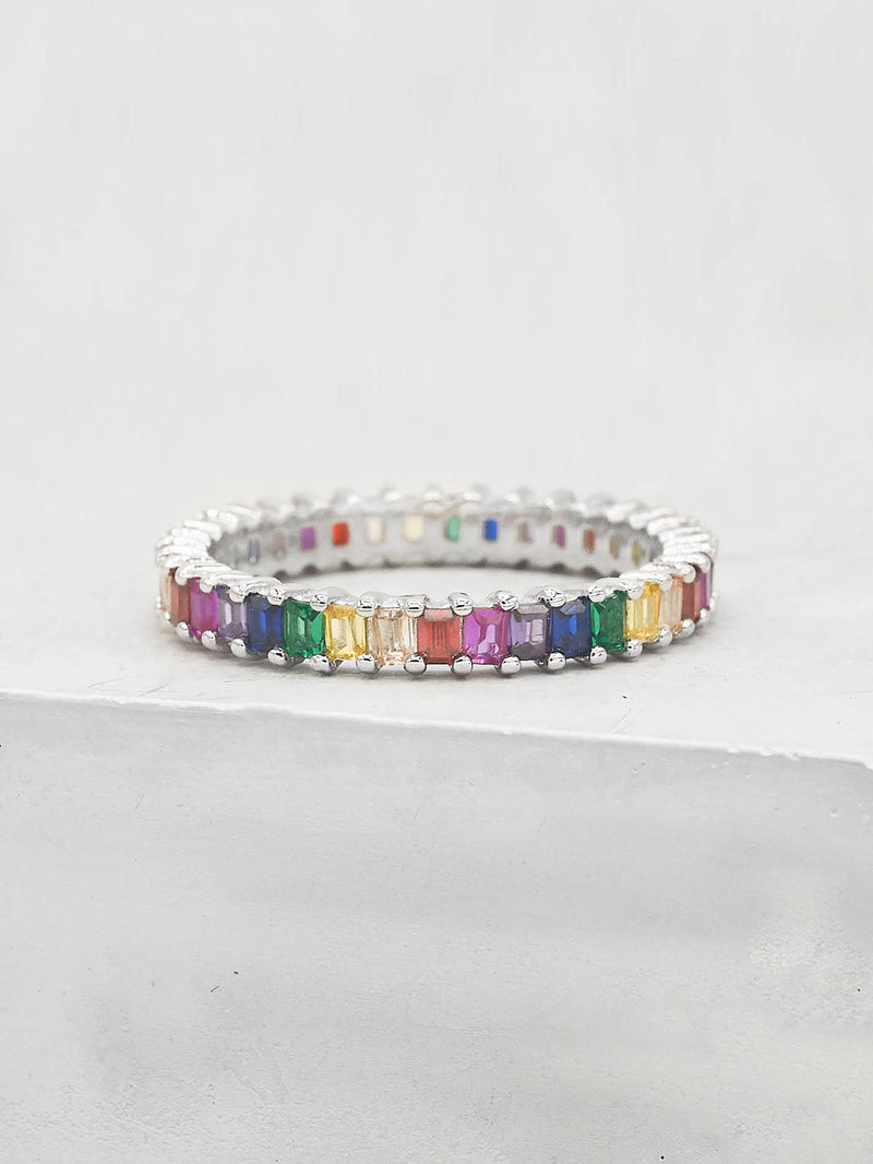 Vertical Baguette Eternity Band - Silver + Rainbow