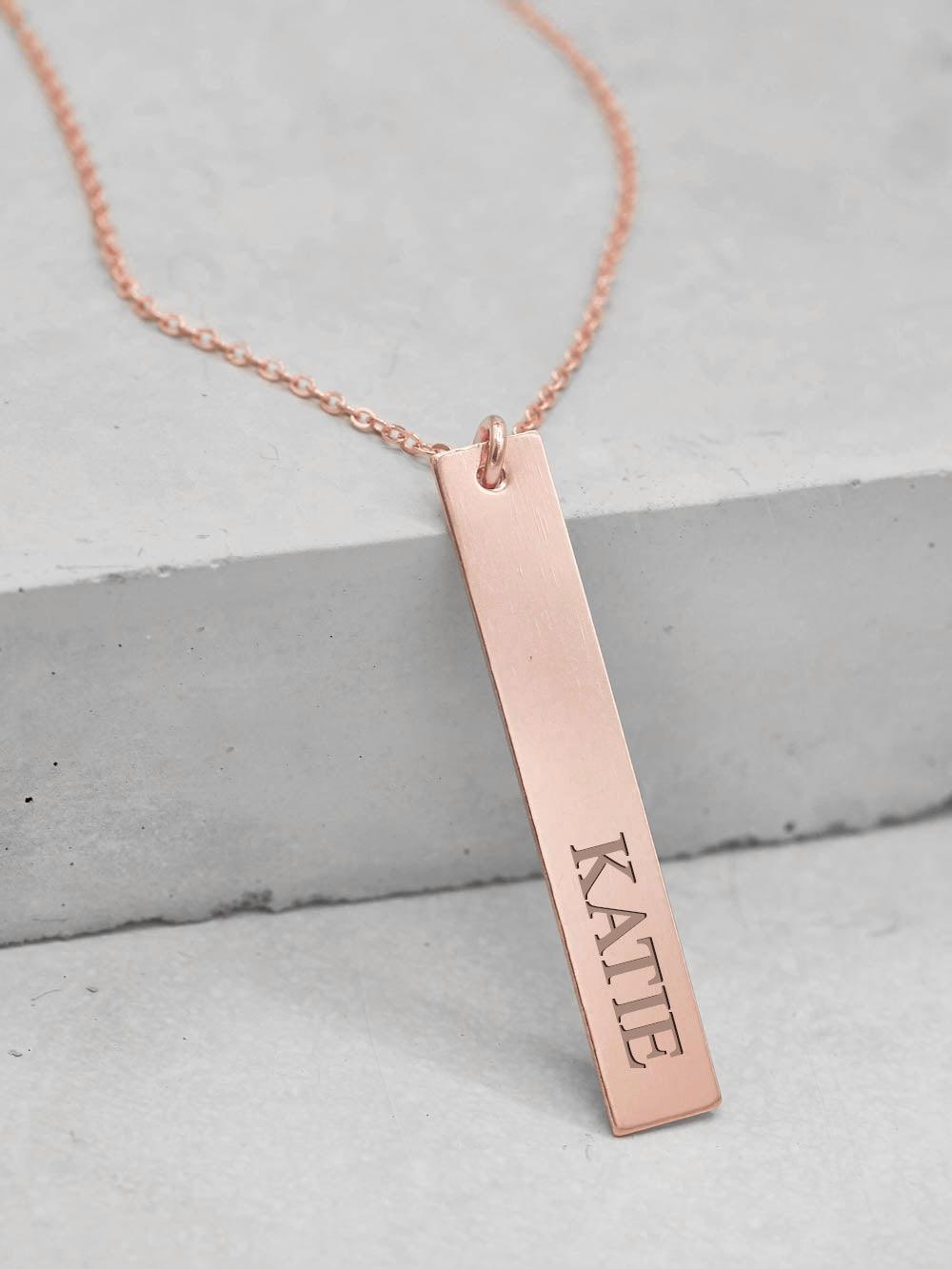 Vertical Bar Custom Name Tag Rose Gold Necklace by The Faint Hearted Jewelry