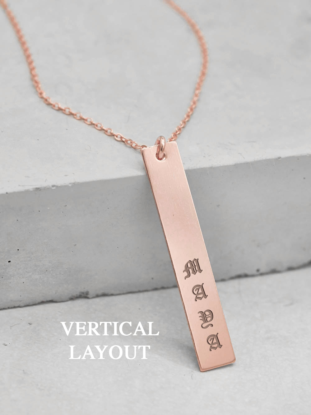 Engraved Vertical Bar Necklace - Rose Gold