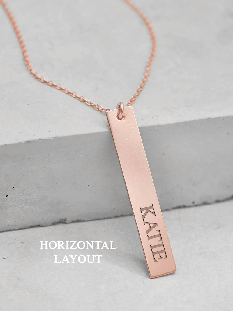 Custom Name Rose Gold vertical  Bar Necklace by The Faint Hearted Jewelry
