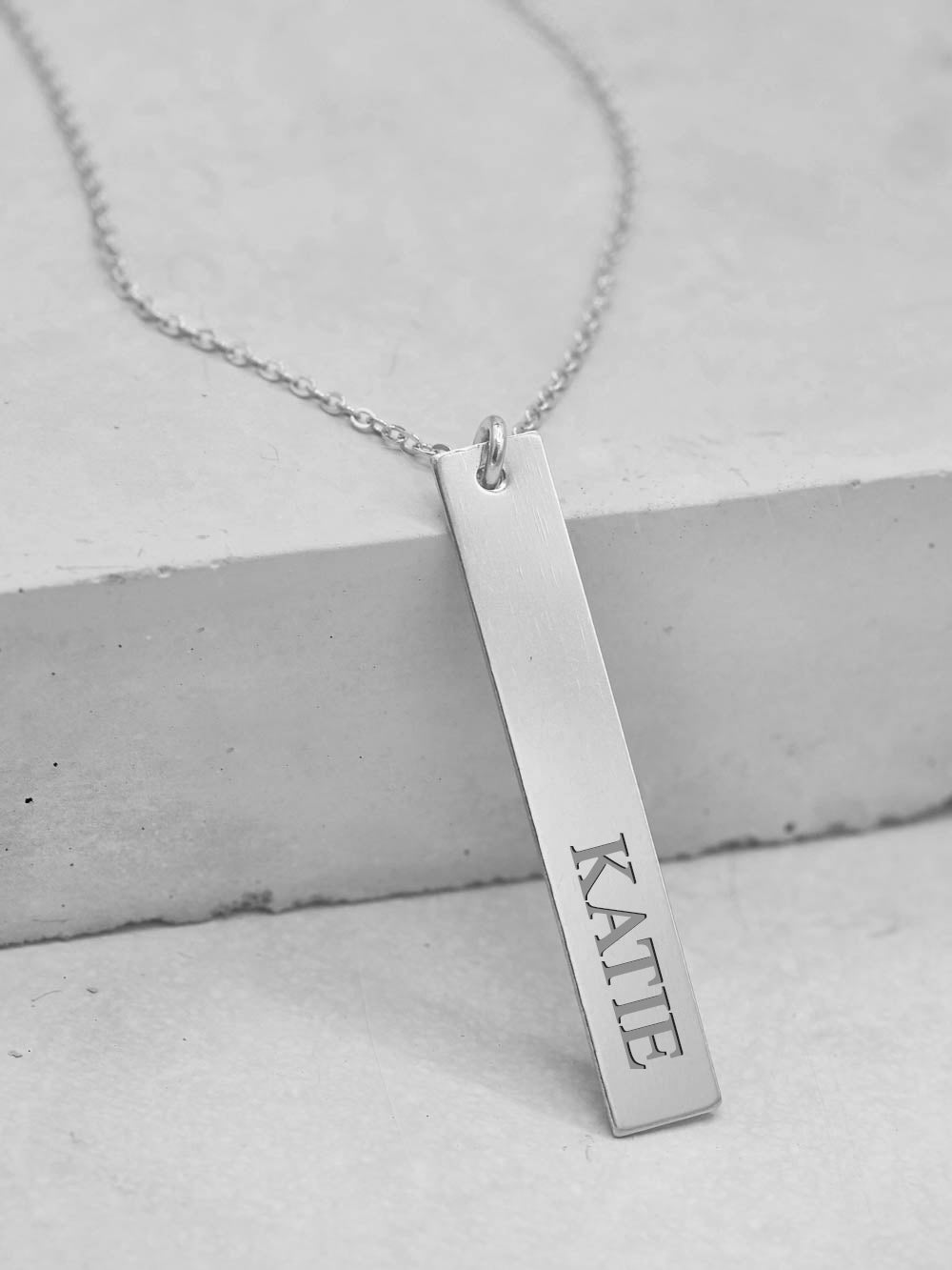 Sterling Silver Vertical Bar Name Necklace by The Faint Hearted Jewelry
