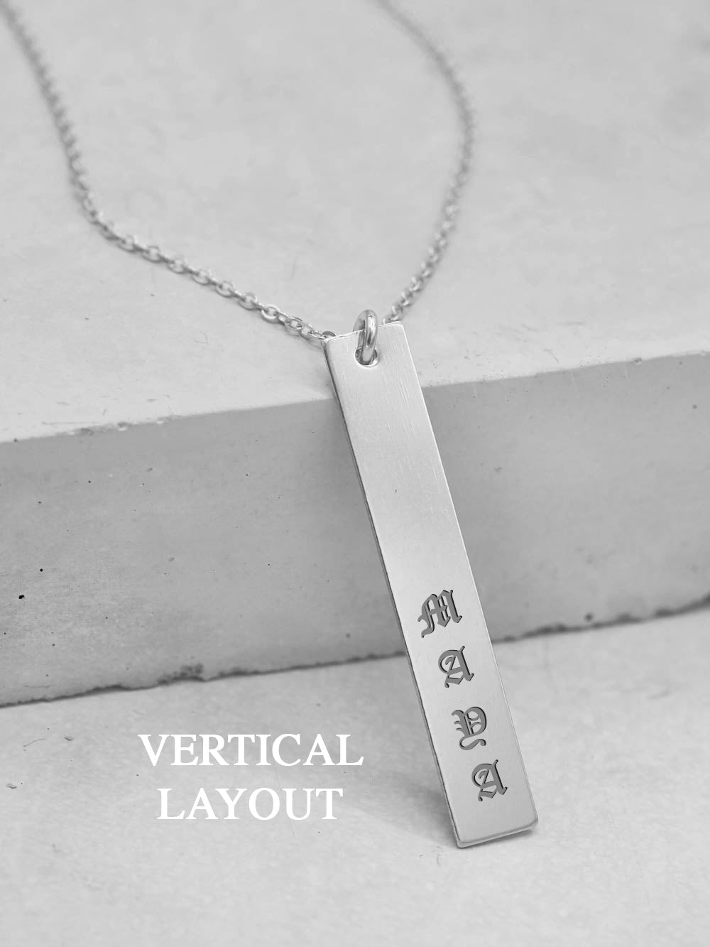 Vertical Bar Custom Name Tag Silver Necklace by The Faint Hearted Jewelry