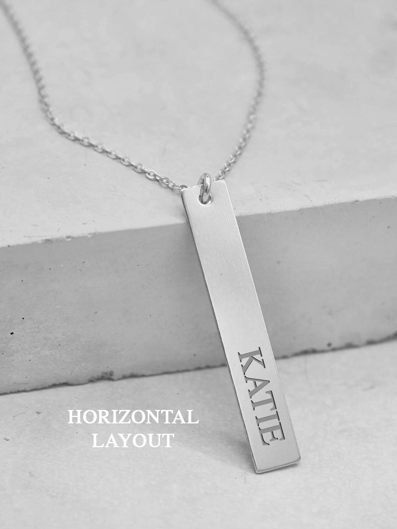 Engraved Vertical Bar Necklace - Silver