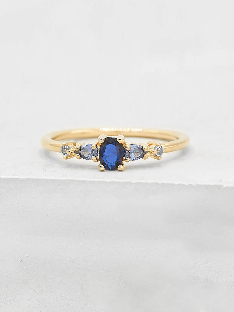 Vintage Ring - Gold + Blue