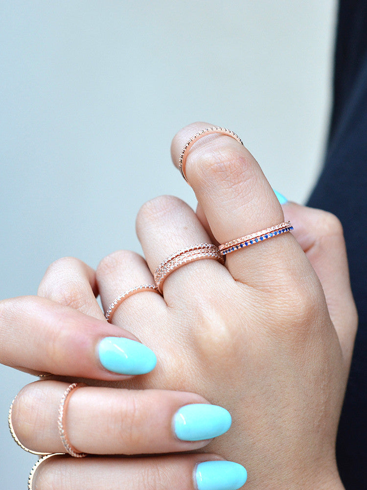 Fashion eternity band Stacking Ring Rose Gold With Sapphire Stones