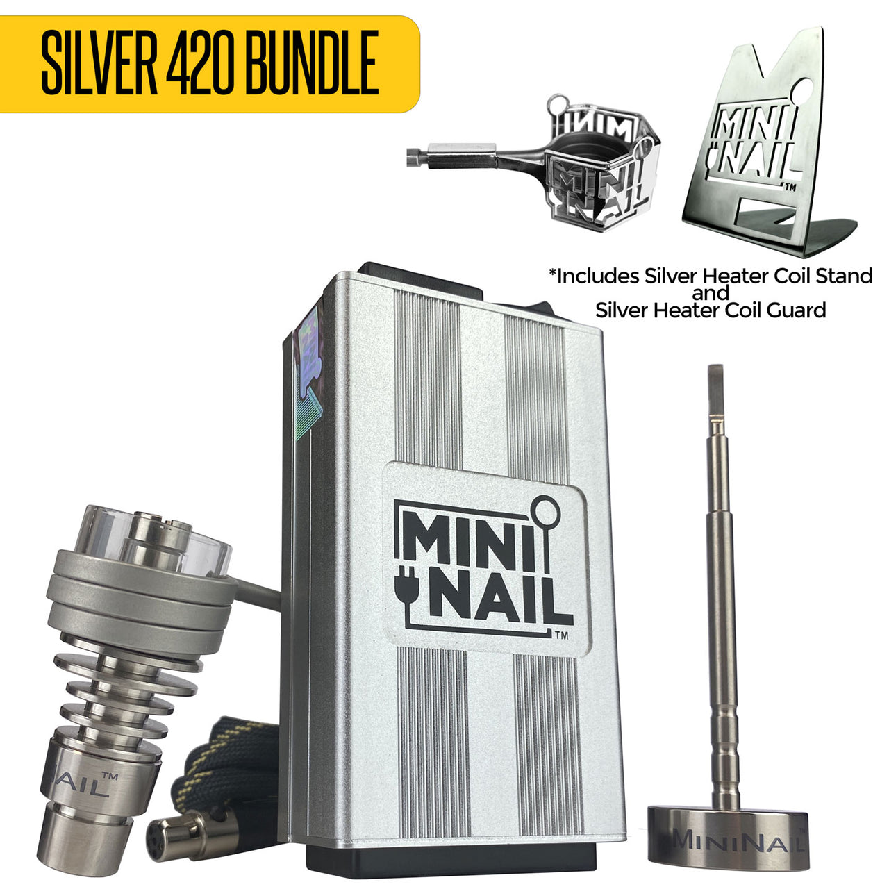Silver 420 Bundle | Quartz Hybrid DeepDish Complete Enail Kit + Accessories