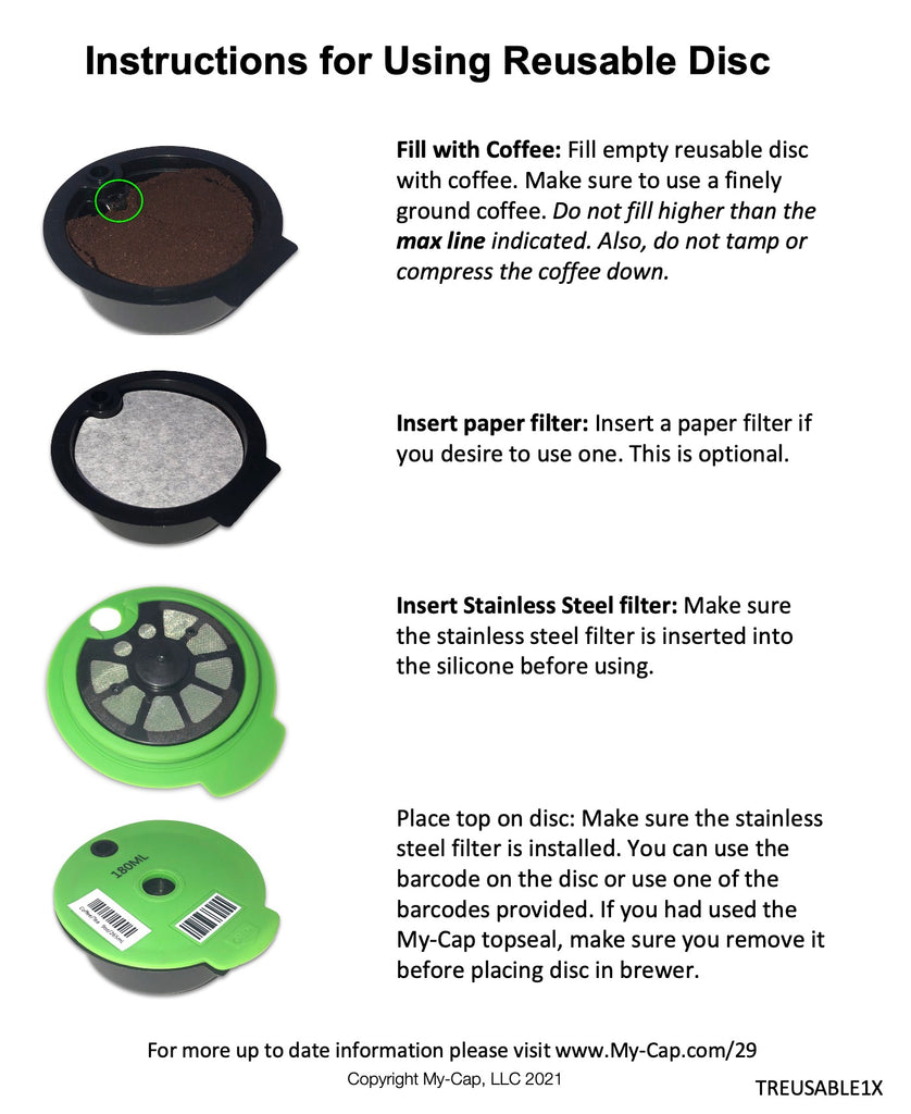 My-Cap Instructions for Using the Reusable Disc for Tassimo Brewers