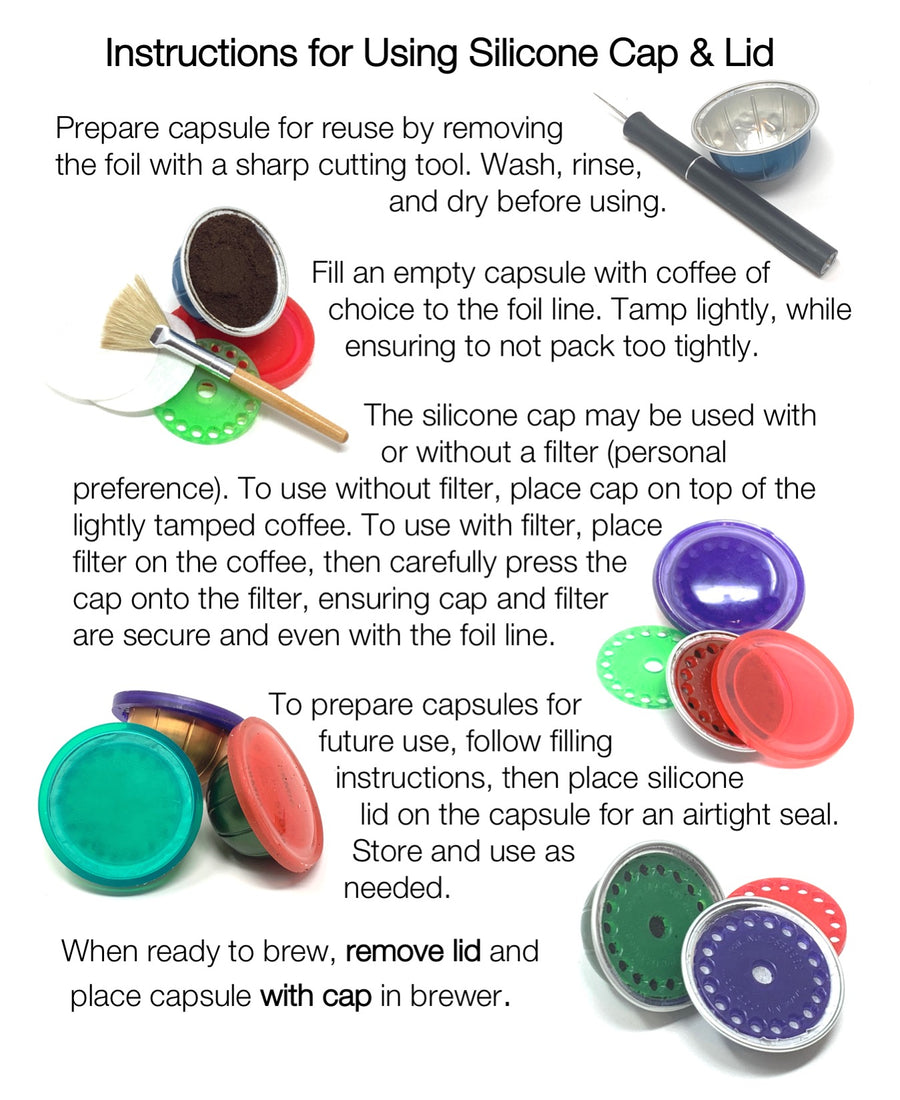 My-Cap Sampler - Complete Solution to Make Your Own Capsules for Nespresso VertuoLine Brewers (silicone)