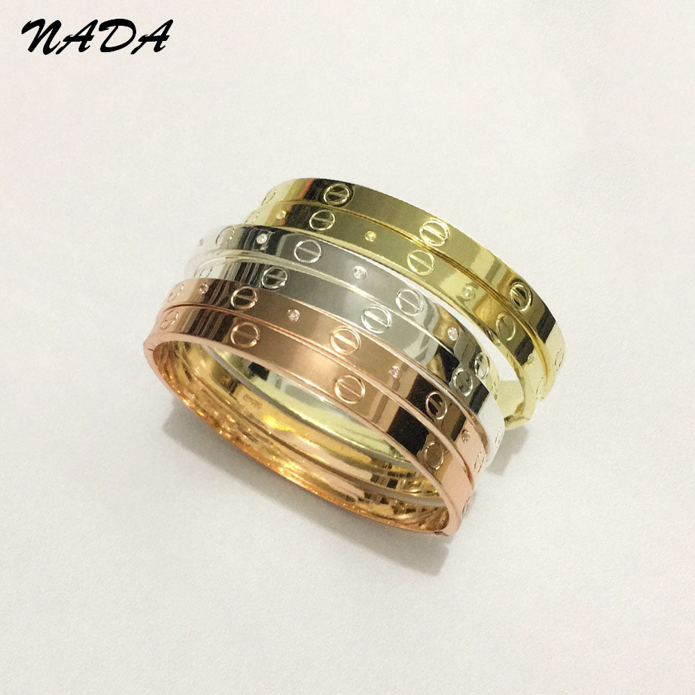 Trendy Crystal Rose Gold Silver Bracelet for Women Bangle Lover Bracelet Jewelry Titanium Love Bracelet Bangle Pulseiras B17008 Trending products - August 2018 - MORILLO ENTERPRISE