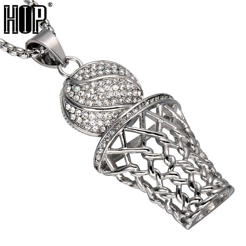 HIP Hop Iced Out Bling Full Rhinestone Men Basketball Pendants Necklaces Gold Stainless Steel Sports Necklace for Men Jewelry Trending products - August 2018 - MORILLO ENTERPRISE