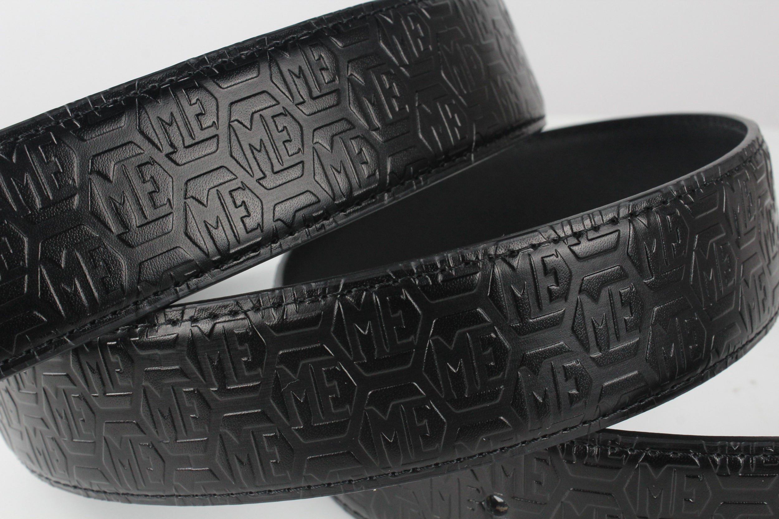 ME CARBON FIBER BUCKLE, LOGO EMBOSSED LEATHER BELT Accessories - MORILLO ENTERPRISE