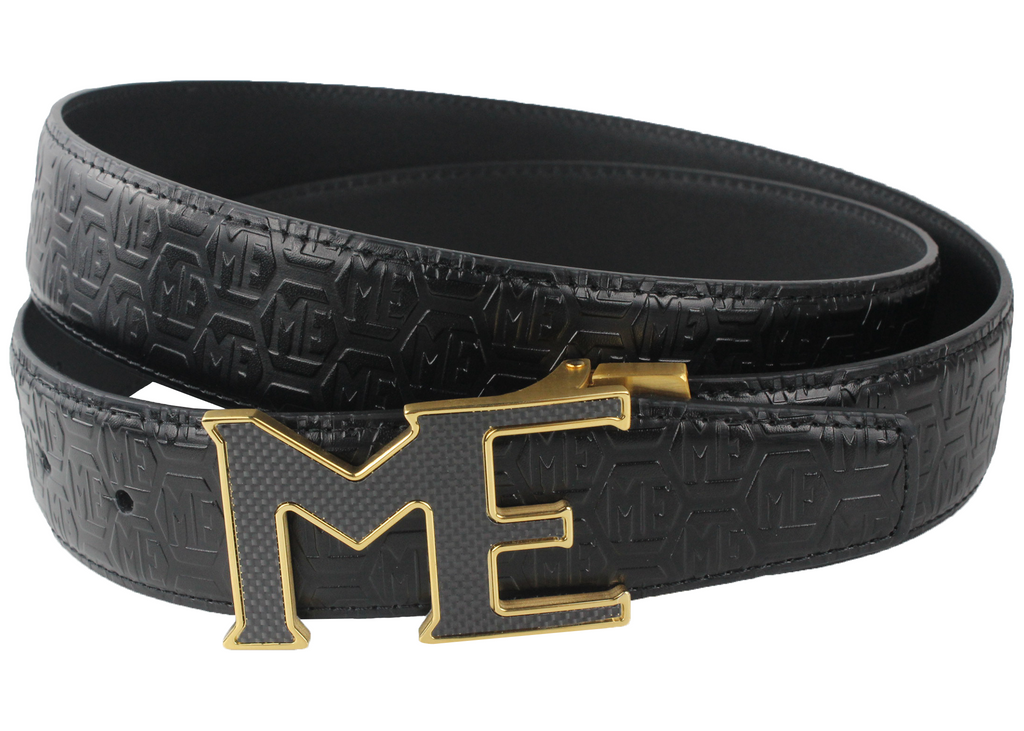 ME CARBON FIBER BUCKLE, LOGO EMBOSSED LEATHER BELT