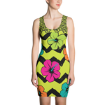 ME HIBISCUS PRINT STRETCH FITTED DRESS