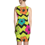 ME HIBISCUS PRINT STRETCH FITTED DRESS  - MORILLO ENTERPRISE