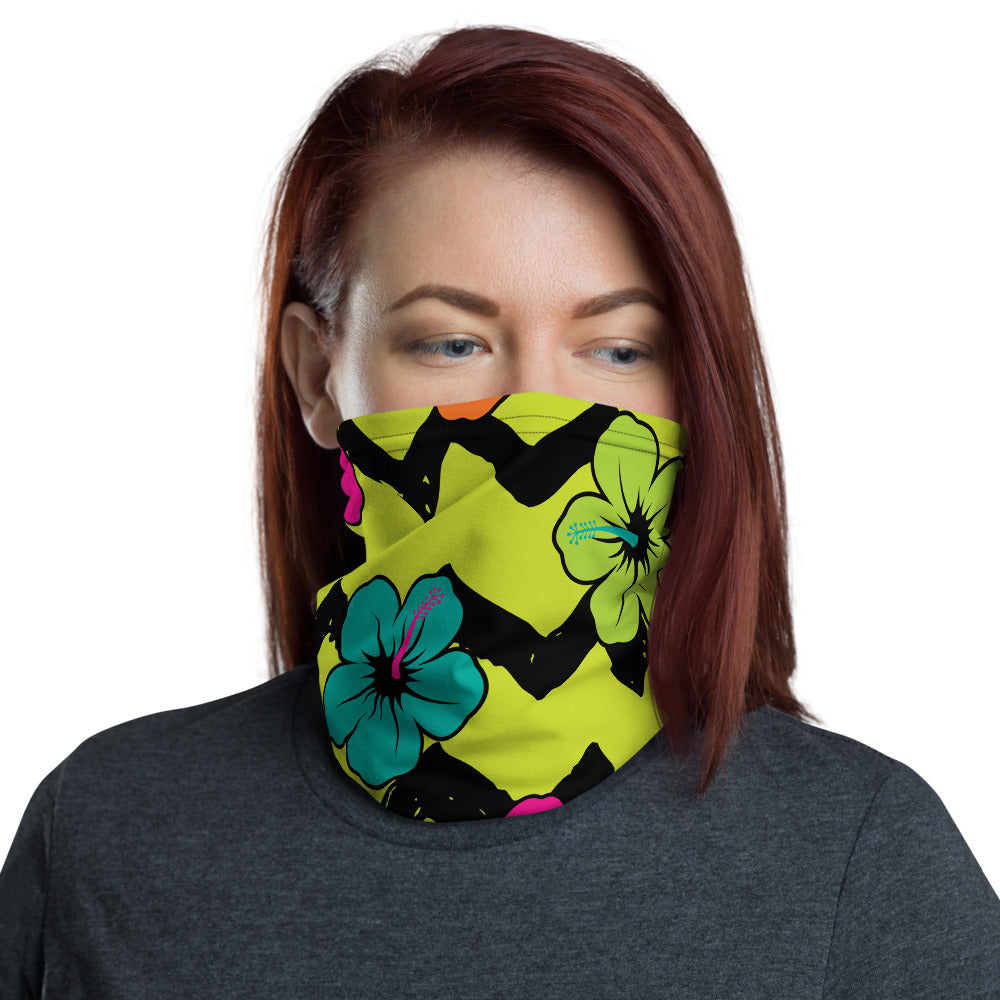 HIBISCUS PRINT NECK GAITER FACE MASK FACE MASK - MORILLO ENTERPRISE