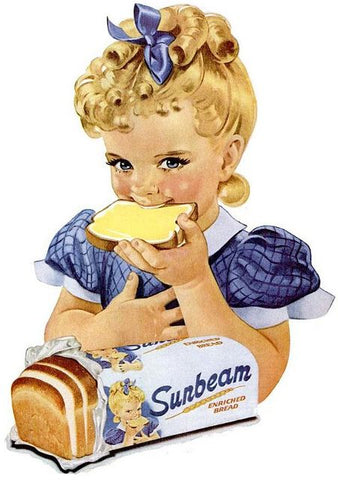 Sunbeam Bread Girl  Vintage Advertisement Mirror Sign