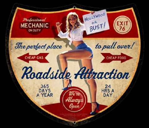 Roadside Attraction Pin Up Girl Vintage  Advertisement Mirror Sign