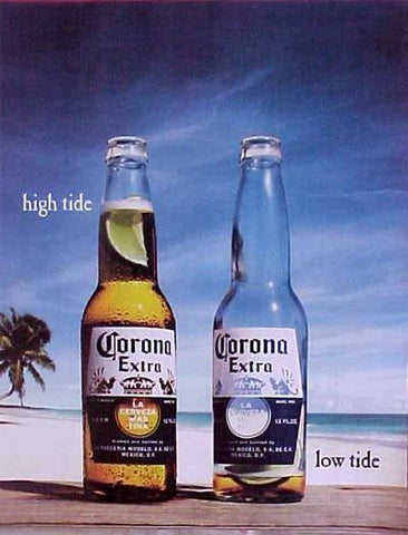 Corona Beer  High Tide Low Tide Poster 16x20