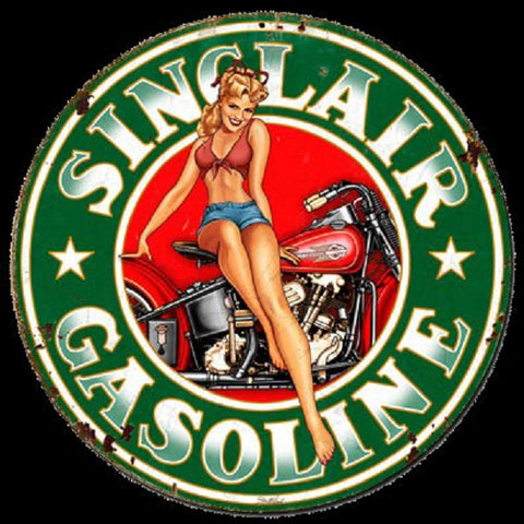 Sinclair Gasoline Oil Pin Up Girl Vintage Logo Advertisement Mirror Sign
