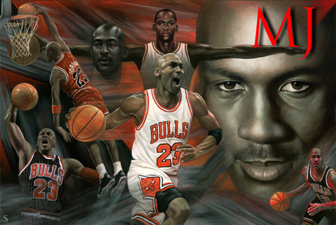 Michael Jordan Chicago Bulls Collage Poster 36x24